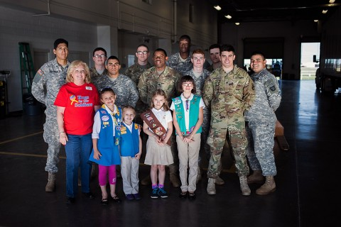 Girl Scouts give Packages of Cookies to Fort Campbell soldiers.