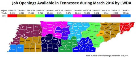 Job Openings Available in Tennessee During March 2016