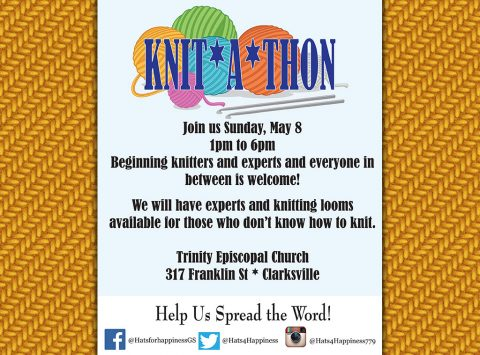 Knit-A-Thon for Hats 4 Happiness set for Sunday, May 8th.