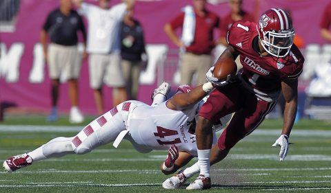 Massachusetts wide receiver Tajae Sharpe (1) was taken by the Tennessee Titans with the 140th overall pick of the NFL Draft. (Bob DeChiara-USA TODAY Sports)