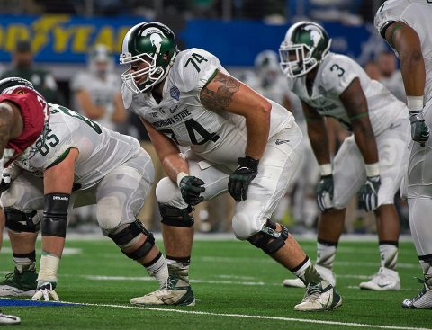 Michigan State Spartans offensive tackle Jack Conklin (74) taken with the 8th overall pick in the NFL Draft by the Tennessee Titans. (Jerome Miron-USA TODAY Sports)