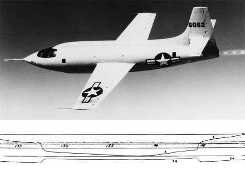 """The Bell X-1, in which Chuck Yeager """"broke"""" the sound barrier in 1947. (NASA)"""