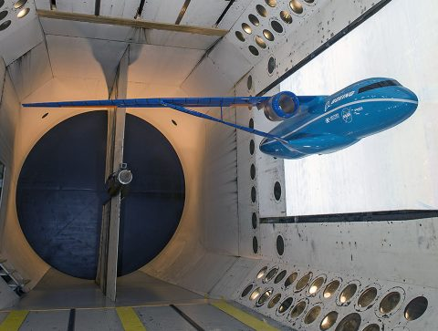 The second leg of the stool – a semi-span model (half of a configuration) undergoes flutter testing in a NASA Langley wind tunnel. (NASA Langley/Sandie Gibbs)