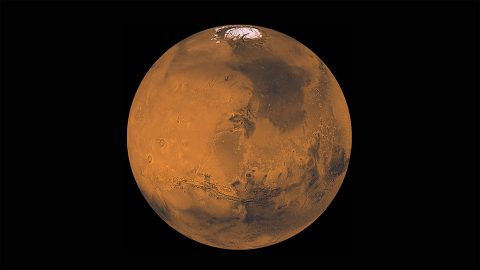 About 1000 Viking Orbiter red- and violet-filter images have been processed to provide global color coverage of Mars at a scale of 1 km/pixel. (NASA/JPL/USGS)