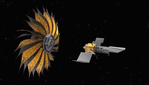 This illustration shows the prototype starshade, a giant structure designed to block the glare of stars so that future space telescopes can take pictures of planets.