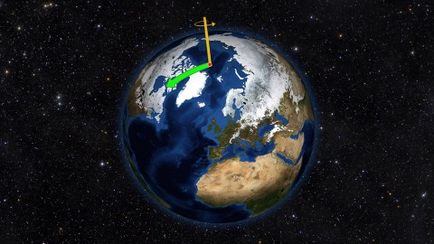 Earth does not always spin on an axis running through its poles. Instead, it wobbles irregularly over time, drifting toward North America throughout most of the 20th Century (green arrow). That direction has changed drastically due to changes in water mass on Earth. (NASA/JPL-Caltech)