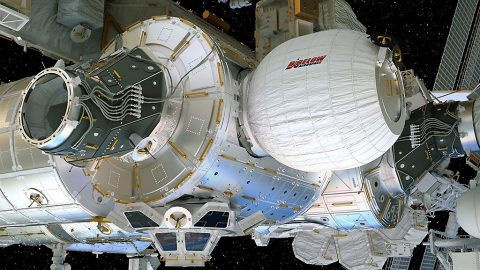 This artist's concept depicts the Bigelow Expandable Activity Module attached to the International Space Station's Tranquility module. (Bigelow Aerospace)