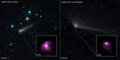 The Comets ISON and PanSTARRS in optical images taken by an astrophotographer, with insets showing the X-ray images from Chandra. (X-ray: NASA/CXC/Univ . of CT/B.Snios et al, Optical: DSS, Damian Peach ( damianpeach.com ))