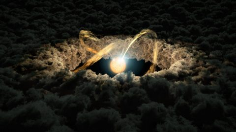 This illustration shows a star surrounded by a protoplanetary disk. (NASA/JPL-Caltech)
