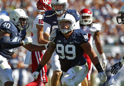 Penn State defensive tackle Austin Johnson (99) was selected by the Tennessee Titans with the 43rd overall pick in the second round of the NFL Draft, Friday. (Matthew O'Haren-USA TODAY Sports)