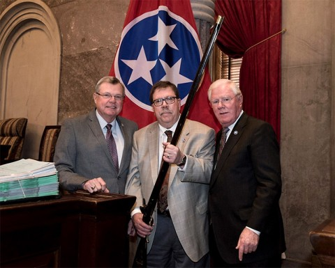 From Left, Rep. Curtis Johnson, Rep. Art Swann (holding rifle) and right is Rep. Charles Sargent.