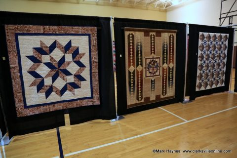 Quilts of Valor on display at Rivers and Spires Quilts of the Cumberland Exhibit.