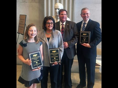 (L to R) Professional Educators of Tennessee presenting Ryann Smith, Senator Dolores Gresham, & Representative Joe Pitts 2016 Advocate of the Year awards on April 18th. Also pictured is J.C. Bowman, Executive Director of the Professional Educators of Tennessee (3rd from left)