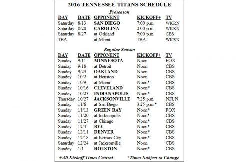 Tennessee Titans 2016 NFL Schedule