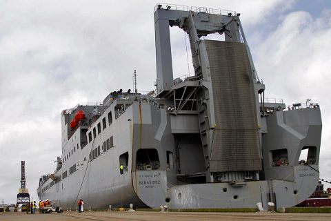 U.S. Naval Ship Benavidez arrives to Port Arthur, Tx., April 25, 2016 for the next phase in the Sea Emergency Readiness Deployment Exercise. Soldiers from 372nd Inland Cargo Transfer Company and 613th Movement Control Team, 129th Combat Sustainment Support Battalion, 101st Airborne Division Sustainment Brigade, 101st Airborne Division (Air Assault) begin the first day of unloading equipment. The SEDRE will test their ability to rapidly mobilize forces. (Sgt. Neysa Canfield, 101st Airborne Division Sustainment Brigade Public Affairs)