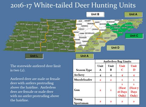 2016-17 Tennessee White Tailed Deer Hunting Units Map