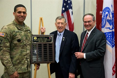 The recipient of the 2016 Command Sgt. Maj. Darol Walker Award at Austin Peay State University is ROTC Cadet Jose Ramoslopez, a decorated career soldier. Ramoslopez (left) stands with Walker (center) and Jack Turner (right). (Taylor Slifko/APSU)