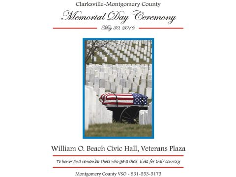 Clarksville-Montgomery County Memorial Day Ceremony to be held May 30th, 2016