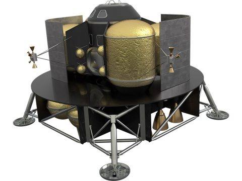 NASA planners are studying several concepts for Mars landers for human spaceflight missions. In this artist's concept, fuel tanks are filled with liquid methane and liquid oxygen and engine nozzles. (NASA)