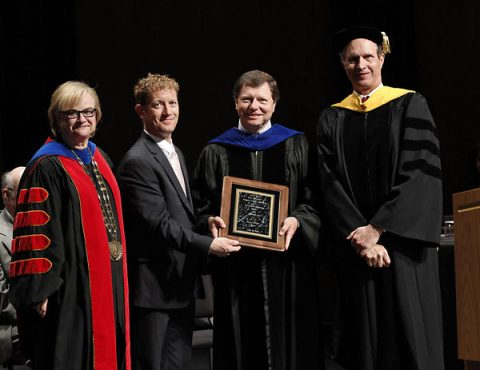 APSU President Dr. Alisa White and past APSU Alumni Association President Brandon Di Paolo Harrison present the 2016 APSU National Alumni Association Distinguished Professor Award to Dr. Mike Gotcher. APSU Provost and Vice President for Academic Affairs Dr. Rex Gandy, far right, is also in the photo. (Robert Smith, APSU Public Relations and Marketing)