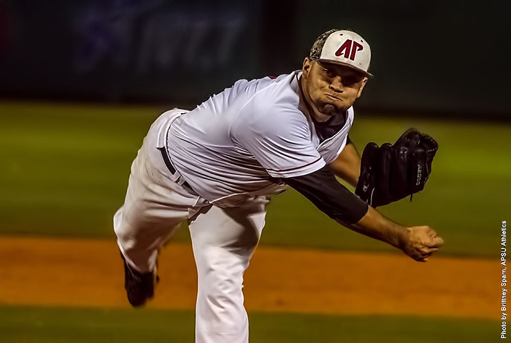 Austin Peay pitcher Alex Robles gives up 5 hits, 2 runs, while striking out 9 and walking 1 in win over Belmont. (APSU Sports Information)