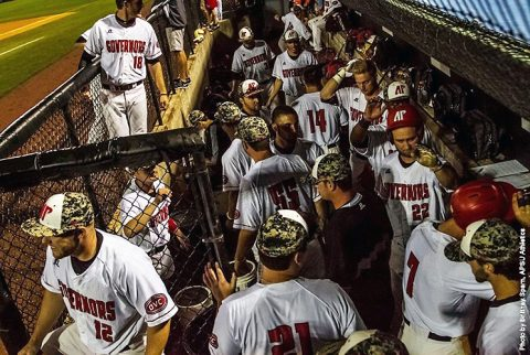 Austin Peay Baseball game against Jacksonville State suspended in the fourth inning with the game tied 3-3. (APSU Sports Information)