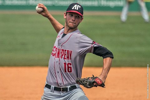 Austin Peay's Jared Carkuff pitches 6.2 innings in relief to help Govs beat Belmont in OVC Baseball Tournament, Saturday. (APSU Sports Information)