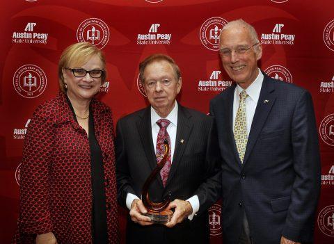 APSU President Alisa White, Wayne Ard and former APSU President Oscar Page. (Robert Smith | APSU Public Relations and Marketing)