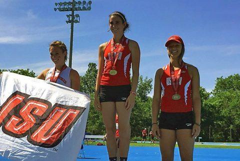APSU freshman Savannah Amato takes gold at outdoor pole vault, freshman Dascha Hix earns bronze. (APSU Sports Information)
