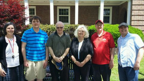 Mary Winters APSU Latin instructor; Alexander Kee, APSU student; Grady Warren, Kaye Warren, Dr. Tim Winters, APSU professor of Classics, and Dr. Stephen Kershner, assistant professor of Classics, celebrate the presentation of a new scholarship.