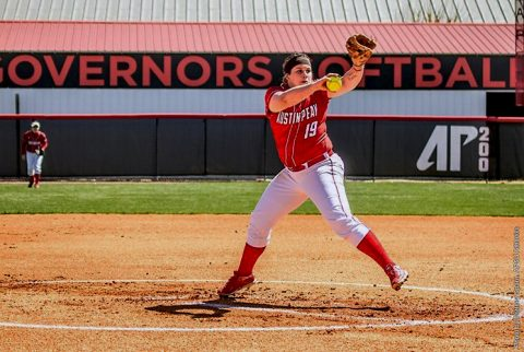 Austin Peay Lady Govs Softball beats Murray State Racers 8-2 in Game 2 at Cheryl Holt Field, Saturday. (APSU Sports Information)