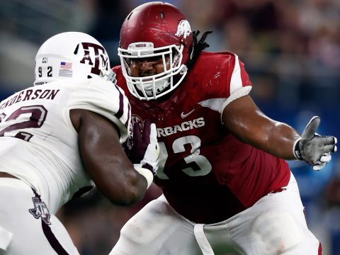 Arkansas Razorback guard Sebastian Tretola (73) was taken by the Tennessee Titans with the 193th overall pick of the NFL Draft. (Matthew Emmons-USA TODAY Sports)