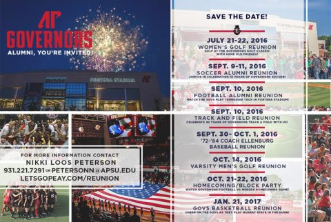Austin Peay State University to host full slate of fall athletic reunions
