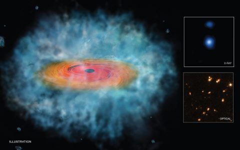 "This illustration depicts a possible ""seed"" for the formation of a supermassive black hole. The inset boxes at right contain Chandra (top) and Hubble (bottom) images of one of two candidate seeds, where the properties in the data matched those predicted by sophisticated models. (Illustration: NASA/CXC/M. Weiss)"