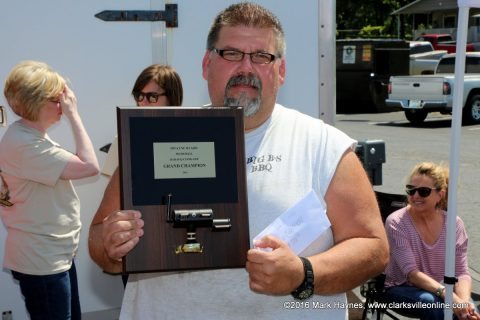 Brian Morrison with Big B's BBQ won Grand Champion at the 1st annual Dwayne Byard Memorial BBQ Cook Off that was held at Hilltop Super Market, Saturday.