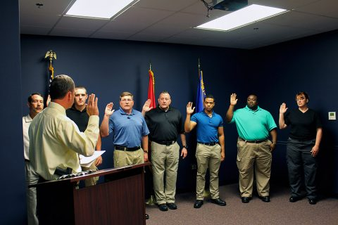 On Monday, May 2nd, Montgomery County Sheriff John Fuson conducted a swearing in ceremony for seven new deputies.