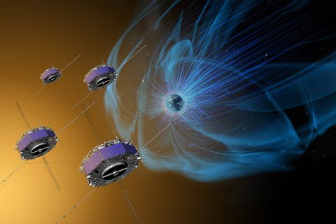 The four Magnetospheric Multiscale, or MMS, spacecraft (shown here in an artist's concept) have now made more than 4,000 trips through the boundaries of Earth's magnetic field, gathering observations of our dynamic space environment. (NASA/Goddard/Conceptual Image Lab)