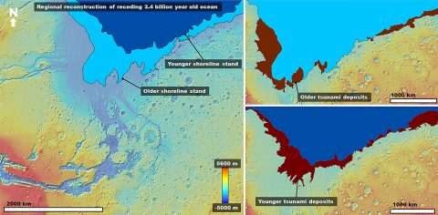 Left: Color-coded digital elevation model of the study area showing the two proposed shoreline levels of an early Mars ocean that existed approximately 3.4 billion years ago. Right: Areas covered by the documented tsunami events extending from these shorelines. (Alexis Rodriguez)