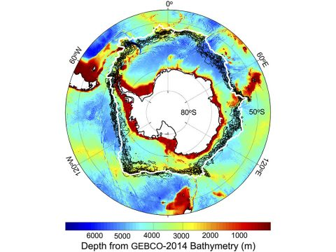 Location of the southern Antarctic Circumpolar Current front (white contour), with -1 degree Celsius sea surface temperature lines (black contours) on Sept. 22 each year from 2002-2009, plotted against a chart of the depth of the Southern Ocean around Antarctica. The white cross is Bouvet Island. (NASA/JPL-Caltech)