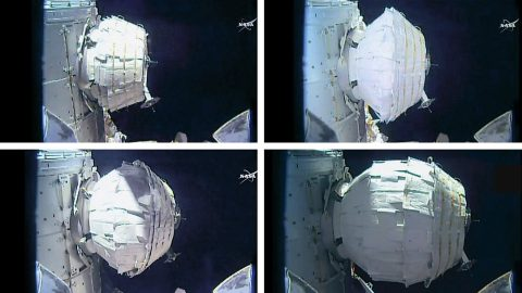 The BEAM expansion took several hours today as astronaut Jeff Williams sent two dozen pulses of air into the expandable module. (NASA TV)