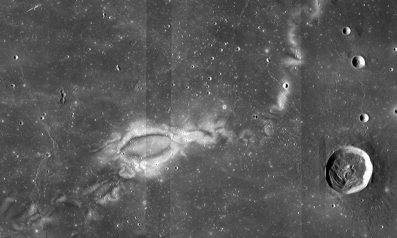 This is an image of the Reiner Gamma lunar swirl from NASA's Lunar Reconnaissance Orbiter. (NASA LRO WAC science team)