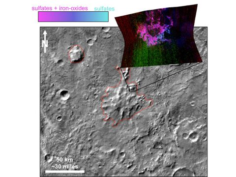 This graphic illustrates where Mars mineral-mapping from orbit has detected minerals that can indicate where a volcano erupted beneath an ice sheet. The site is far from any ice sheet on modern Mars, in an area where unusual shapes have been interpreted as a possible result of volcanism under ice. (NASA/JPL-Caltech/JHUAPL/ASU)