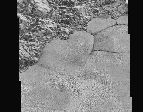 This mosaic strip – extending across the hemisphere that faced the New Horizons spacecraft as it flew past Pluto on July 14, 2015 – now includes all of the highest-resolution images taken by the NASA probe. (NASA/JHUAPL/SwRI)
