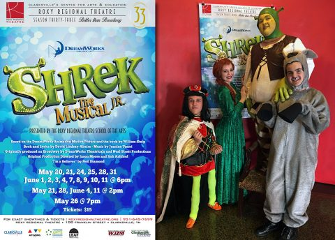 (L to R): Truman Jepson as Lord Farquaad, Allison Ferebee as Princess Fiona, Patrick Long as Shrek and Riley Jenkins as Donkey.