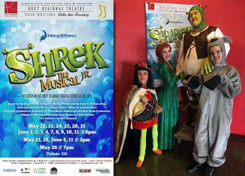 (L to R): Truman Jepson as Lord Farquaad, Allison Ferebee as Princess Fiona, Patrick Long as Shrek and Riley Jenkins as Donkey.