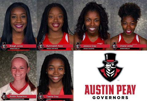 Austin Peay's Breigh Jones, Kymmalett Ross, Jessica Gray, Unjala Lester, Tiasha Gray and Kirstin Robertson earn Arthur Ashe Jr. Sport Scholar honors. (APSU Sports Information)