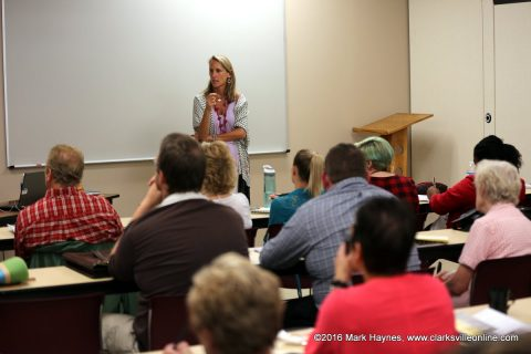 """Michel Stone presenting """"Pursuing Your Passon: One Novelist's Advice on Staying the Course"""" at the 2016 Clarksville Writer's Conference."""