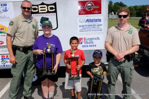 The winners of this year's Youth Fishing Rodeo. (L to R) TWRA officer Jereme Odom, Sarah McLaughlin, Raymond Pardo, Cayden McElroy and TWRA officer Nate Thompson. Not pictured, Mary Russell.
