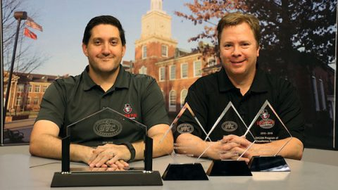 David Ellison, APSU video production coordinator, and Barry Gresham, APSU communication instructor, display the OVC awards the APSU Department of Communication's Sports Broadcasting Program received earlier this month. (Photo by Lakyn Jarman/APSU)