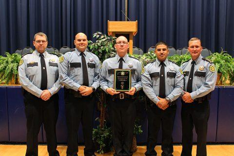 (L to R) Chief Deputy John Smith, John Fleming, Tecoah McDowell, Tommy Vallejos Jr, Sheriff John Fuson.